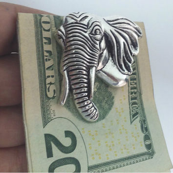 Money Clip, Silver Money Clip, Money Holder,  Money Clip With Elephant, Jewelry Gifts, Elephant Jewelry, Animal Jewelry