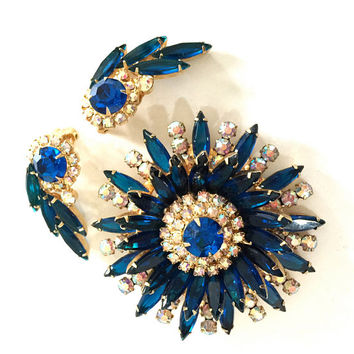 Juliana D&E Sunburst Demi Parure, Brooch and Earring Set,  Sapphire Blue Marquise and Chatons, Aurora Borealis, Rhinestones, Book Piece