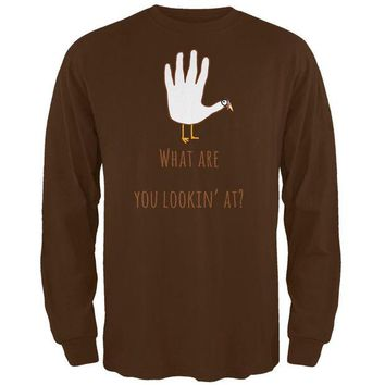 DCCKJY1 Thanksgiving Turkey What Are You Looking At?  Brown Adult Long Sleeve T-Shirt