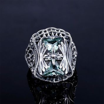 Big Blue Aquamarine anel Petals 925 Sterling Silver Rings