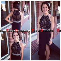 Back Sexy prom dress with appliques and split front evening dress