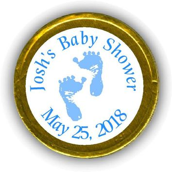 Blue Feet Baby Shower Chocolate Coins
