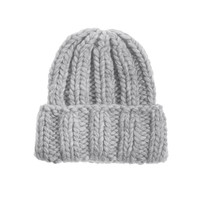 Kiss by Fiona Bennett   Kirk Silver Grey  Hand knit beanie - Accessories