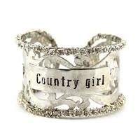Silver Tone Country Girl Filigree Bracelet