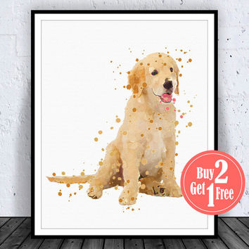 BIG SALE: Golden Retriever Print, Golden Retriever Art Puppy Golden Retriever Decor, Waterolor Artwork, Watercolor wall Art, Dog Illustratio