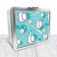 Teal Baseball Lunch Box - Sports Baseball Pattern on Teal, Tin School Lunch Art Craft Supplies Box, Chalkboard inside - Made to Order