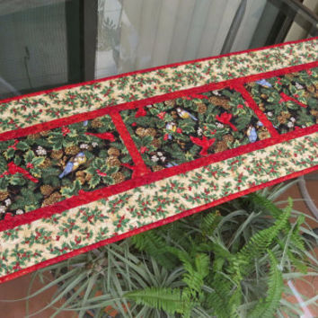 quilted christmas table runner quilt winter reflections red 649