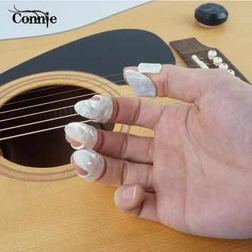 Connie 4pcs/set Fingertip Guitar String Finger 1 Thumb And 3 Finger Guitar Accessories Nail Guitar Picks Plectrums Sheath