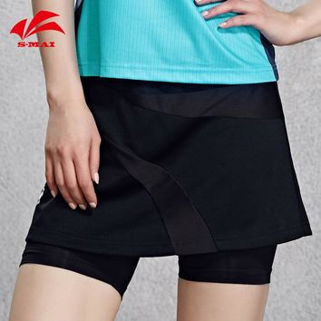New Summer Sports Tennis Skirts Quick Dry Culottes Women Cultivate One's Morality Type Fake Two Pieces Badminton Skorts