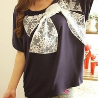 Casual Womens Lace Bowknot Batwing Sleeves Cotton T-shirts