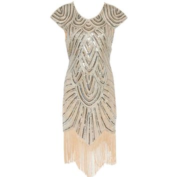 Shining 1920s Style Flapper Dress Vintage Great Gatsby Charleston Sequin Tassel Party Cocktail Gown