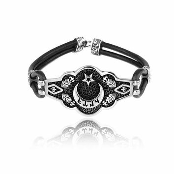 Crescent star silver bracelet with leather wristband