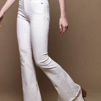 Highwaist Side Slit Flare Leg Jeans - White