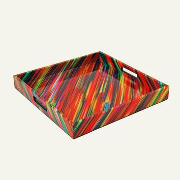 Crayons Fabric Inlay with Lacquer Serving Tray
