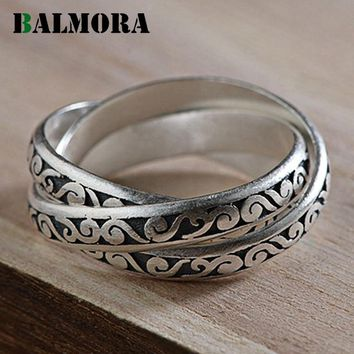 BALMORA 100% Real 990 Pure Silver Jewelry Three Circles Rings for Women Mother Party Gifts Vintage Fashion Ring Bijoux SY21061
