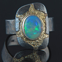 Size 10 Solid Ethiopian Opal Ring in Oxidized Silver and 18k Gold