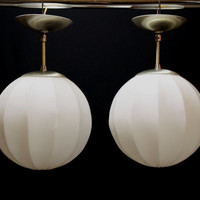 Sale*** Mid Century Glass Hanging Celing Lights, Eames Era Honeycomb Pendant Lamps