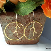 Gold Filled and Vermeil Large Circle with Coral Branch Earrings