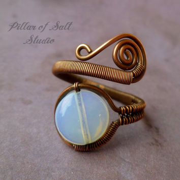 Wire wrapped jewelry handmade / Copper Wire Wrapped Ring / adjustable ring / rustic earthy jewelry / opalite / copper jewelry / wire jewelry