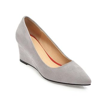 Pointed Toe Shallow Women Wedges Middle Heels