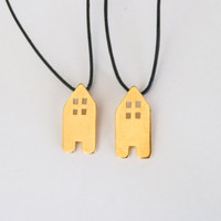 Tiny House Pendant, Home Necklace, Charm Leather Necklace, Moving home gift, in Gold color on Black round leather cord
