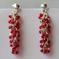Shaggy Loops Earrings, Red Beaded Earrings, Chainmaille Earrings, Chain Maille, Dangle Earrings, Chandelier Earrings,