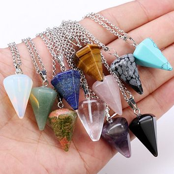 hot choker necklace women Hexagonal columns of natural stone pendant necklace 10colors tapered section Pendulum crystal pendant