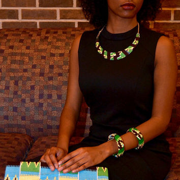 5-piece Brown/Blue/White Kente Necklace, Clutch, Earring, Bangles Jewelry Set