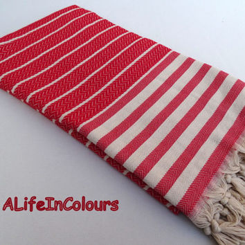 Red colour herringbone patterned Turkish soft cotton bath towel, beach towel, travel towel, sauna towel, pool towel.