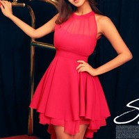 Ladies Dazzling Mesh Front layer Dress in Rose