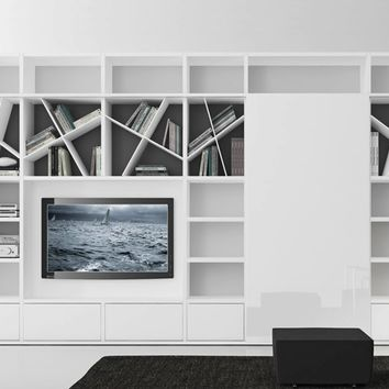 Sectional lacquered TV wall system COMP 318 Pari&Dispari Sliding door arrangements Collection by Presotto Industrie Mobili | design Pierangelo Sciuto