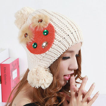 Cute Yarn Ball and Artificial Gem Decorated Bear Head Pattern Knitted Hat For Women