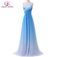 Grace Karin Chiffon Sexy Blue Ombre Long Prom Dresses 2017 Elegant Strapless Colorful Pleats Evening Party Dresses