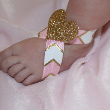 Pink, gold, and white chevron barefoot sandals with sparkly gold heart