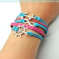 Blue Rope and Pink Braided Leather Steampunk Adjustable Vintage Silver Karma Bracelet,infinity Wish Anchor Rudder Bracelet 1151r:Amazon:Jewelry