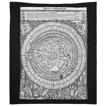 Vintage Zodiac Tapestry Black and White Mandala Wall Hanging