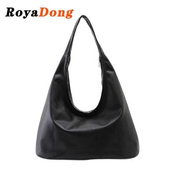 RoyaDong Brand 2016 New Women's Handbags Luxury Shoulder Bags Hobos Designer Hand Bags For Women Black PU Leather Bags Ladies