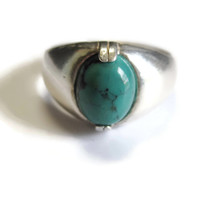 Men's Turquoise Cabochon Ring Sterling Silver Size 9