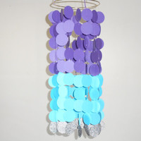 Baby Nursery mobile. Crib mobile, Purple and Turquoise circle mobile with a hint of silver sparkles. Circle crib mobile, Home decor, dorm