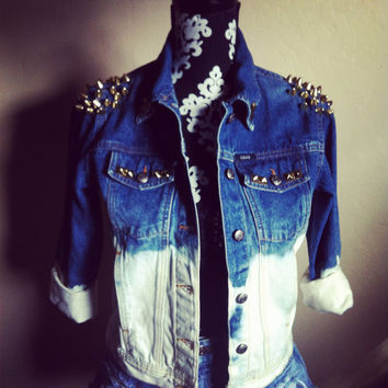 HIPSTER Ombre Studded / Spiked denim jacket