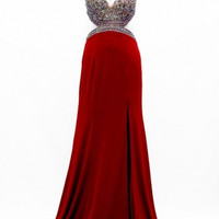 Kari Chang KC1 Red Jeweled Cut Out Prom Dress