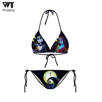 Bikinis Halter Top Neck Push Up Bathing Suits Beachwear Bikini set Skull Pattern Swimwear suits