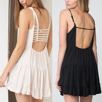 Sexy Spaghetti Strap Hollow Out One Piece Dress [6338932417]
