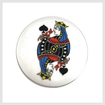 Painted Enamel Joker Playing Card 20mm