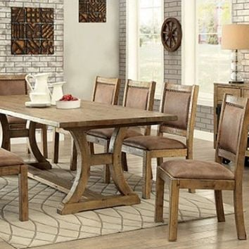 Furniture of america CM3829T-SC-6PC 6 pc Gianna II collection rustic style rustic pine finish wood dining table set