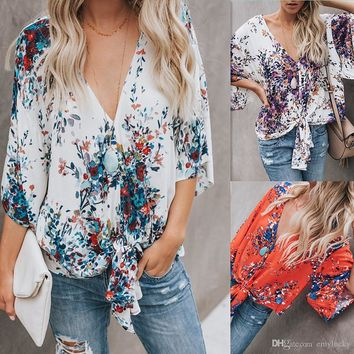 Sexy Womens Chiffon Summer T Shirt Print Tops Short Sleeve Lace-Up Causal Blouse Free Shipping Plus Size Women Clothing