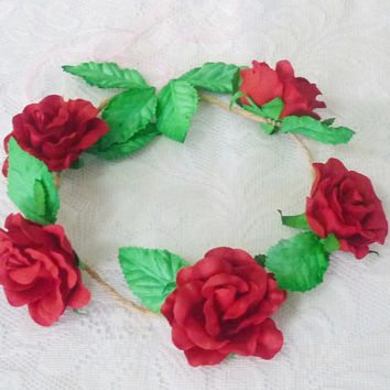 Red rose leaves flower crown Large rose  headband /Festival flower crown /floral headpiece/ flower crown ribbon tie back