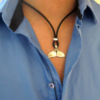 Men's Necklace - Black Leather Necklace With Silver Plated Fish Tail - Mens Jewelry - Nautical Jewelry - Gift For Him