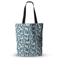 "Julia Grifol ""Green Flowers"" Teal Everything Tote Bag"