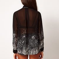 Religion Sheer Falling Fire Printed Blouse at asos.com
